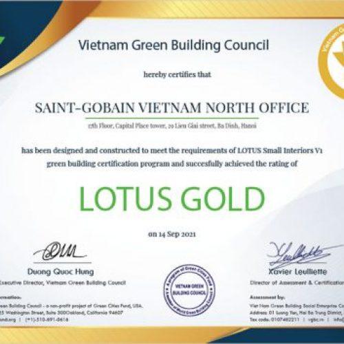 Văn phòng Saint-Gobain Việt Nam đạt chứng nhận Công trình Xanh LOTUS Gold